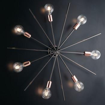 Bonetti Illumina Plafoniera in metallo cromato nero 7 luci con rifiniture oro rosa Bloom Cromato    BL200-PL7