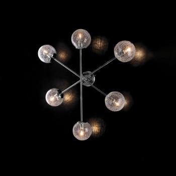 Bonetti Illumina Plafoniera in metallo cromo lucido con sfere in vetro soffiato trasparente Tresor     BL215-PL6