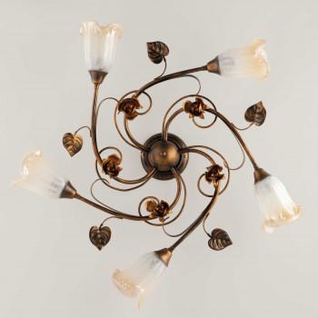 Be Light Plafoniera da soffitto grande con diffusori in vetro dallo stile classico Cestino     BL26-PL5