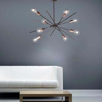 Bonetti Illumina Plafoniera in metallo cromato nero 8 luci con rifiniture oro rosa Bloom Cromato    BL200-PL8