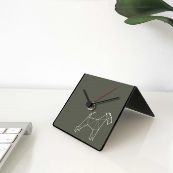 "Design Object Orologio da scrivania per casa o ufficio in metallo con dedica sul retro ""CANE"" Totem Collection"