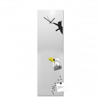"""Design Object Orologio da parete in metallo e lavagna magnetica e accessori magnetici """"GATTO""""      IT6631"""