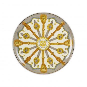 Baci Milano Centro tavola rotondo in porcellana dal design moderno con ruota Horses Arancione    CENT.HOR01