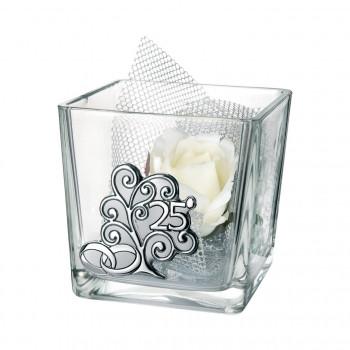 Bongelli Preziosi Ciotola in vetro piccola Cube 25° anniversario 8x8x8 fiori inclusi Albero della Vita Trasparente