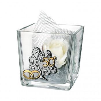 Bongelli Preziosi Ciotola in vetro Cube grande 50° anniversario 12x12x12 fiori inclusi Albero della Vita Trasparente