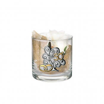 Bongelli Preziosi Vaso in vetro Cilinder piccolo 50° anniversario 10x10 fiori inclusi Albero della Vita Trasparente