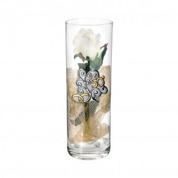 Bongelli Preziosi Vaso Cilinder in vetro grande 50° anniversario 10x30 fiori inclusi Albero della Vita Trasparente