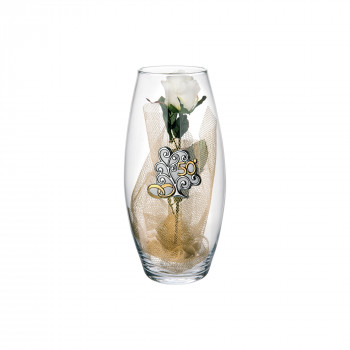 Bongelli Preziosi Vaso Amarilis in vetro medio 50° anniversario fiori inclusi  Trasparente