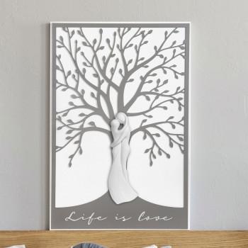 Bongelli Preziosi Quadro moderno piccolo in legno con albero della vita e abbraccio di innamorati      ME1952/1