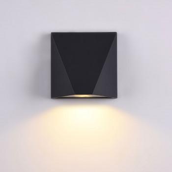Maytoni Applique da esterni con struttura in metallo diffusore in vetro con lampada LED Beekman Nero Lumen 450 3000k Luce Calda  O577WL-L5B