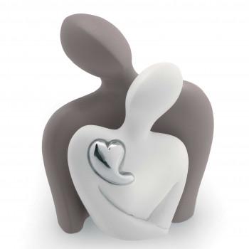 Bongelli Preziosi Scultura da tavolo con innamorati che si abbracciano e un cuore in argento      ME788