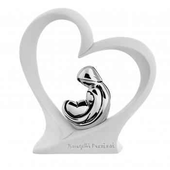 Bongelli Preziosi Scultura da tavolo con sacra famiglia in argento dentro ad un cuore  Bianco    ME1327