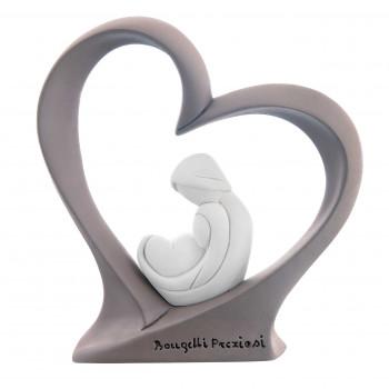 Bongelli Preziosi Scultura da tavolo con sacra famiglia bianco dentro ad un cuore colorato      ME1327/