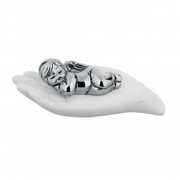 Bongelli Preziosi Bomboniera Battesimo - Scultura con bambino che dorme sulla mano in argento      ME1257