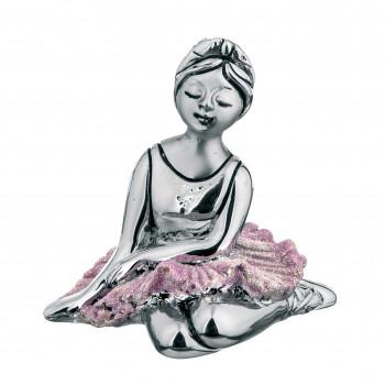 Bongelli Preziosi Bomboniera Vari Eventi - Statuina da tavolo con base ballerina seduta in argento      ME1286