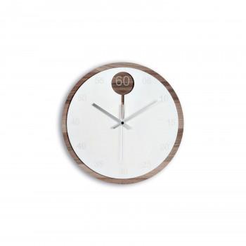 Ves Design Orologio da parete rotondo in legno dal design moderno per soggiorno KLIN     K05R39