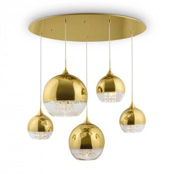 Maytoni Lampadario dallo stile elegante con 5 diffusori rotondi in vetro dorato Fermi Oro    P140-PL-170-5-G