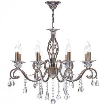 Maytoni Lampadario classico a 8 braccia con pendenti in cristallo e struttura in metallo Grace Ottone