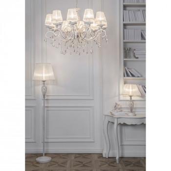 Maytoni Lampada da Terra in stile classico con paralume in tessuto  Grace Bianco/Oro