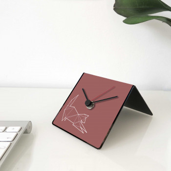 """Design Object Orologio da scrivania per casa o ufficio in metallo con dedica sul retro """"GATTO"""" Totem Collection     IT221"""