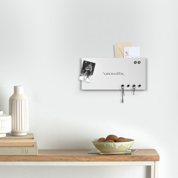 """Design Object Portachiavi da parete con lavagna magnetica e portadocumenti """"LIFE IS GOOD"""""""