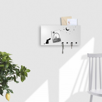 """Design Object Portachiavi da parete con lavagna magnetica e portadocumenti """"DOG&MOON"""""""