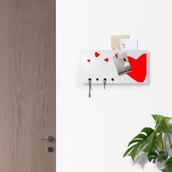 """Design Object Portachiavi da parete con lavagna magnetica e portadocumenti """"HEART"""""""