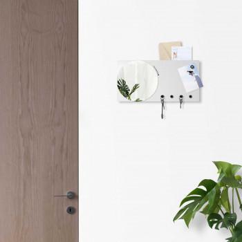 Design Object Portachiavi da parete con specchio e lavagna magnetica e porta documenti