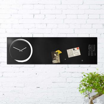 """Design Object Orologio da parete orizzontale con calendario e lavagna magnetica """"S-ENSO""""      IT623"""