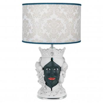 Bongelli Preziosi Lampada da tavolo in stile moderno con testa di moro maschile  Bianco/Nero    ME1885