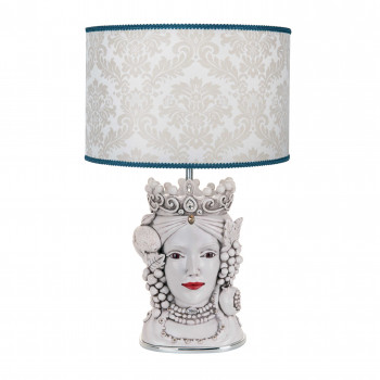 Bongelli Preziosi Lampada da tavolo in stile moderno con testa di moro femminile  Bianco    ME1890