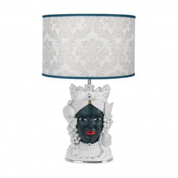 Bongelli Preziosi Lampada da tavolo in stile moderno con testa di moro femminile  Bianco/Nero    ME1886