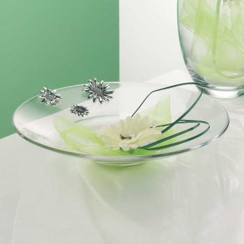 Bongelli Preziosi Centro tavola trasparente in vetro classico con girasoli in argento      ME137