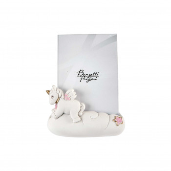Bongelli Preziosi Bomboniera Battesimo - Portafoto Piccolo con Unicorno Rosa