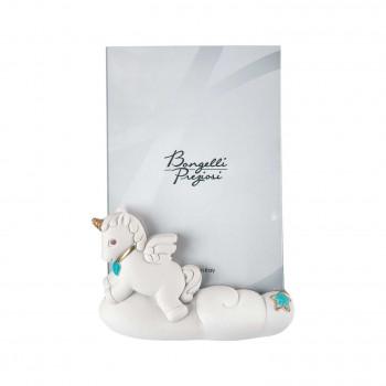 Bongelli Preziosi Bomboniera Battesimo - Portafoto Grande con Unicorno Celeste