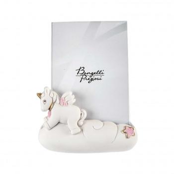Bongelli Preziosi Bomboniera Battesimo - Portafoto Grande con Unicorno Rosa