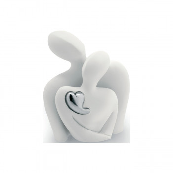 Bongelli Preziosi Scultura statuina da tavolo moderna con una coppia di innamorati e cuore argento
