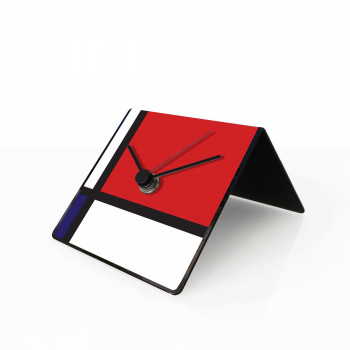 "Design Object Orologio da tavolo e da scrivania in metallo con calendario e magneti ""MONDRIAN"" Art Collection"