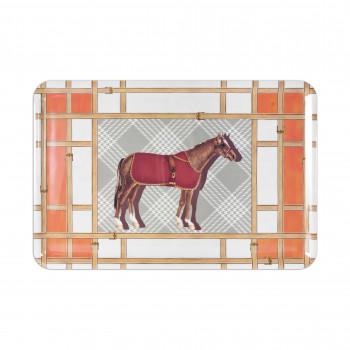 Baci Milano Vassoio rettangolare in melammina dal design moderno Horses Arancione    MTRA1.HOR01
