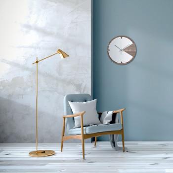 Ves Design Orologio da parete rotondo dal design moderno in legno per soggiorno KLIN     K05R38