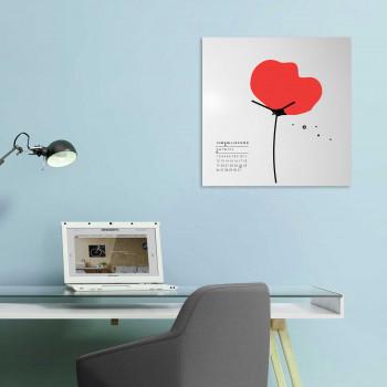 """Design Object Orologio da parete in stile moderno con calendario e magneti """"PAPAVERO""""      IT412"""