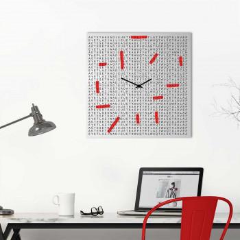 """Design Object Orologio da parete in metallo in stile moderno per studio o salotto """"CROSSWORD""""      IT615"""
