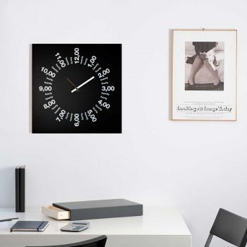 """Design Object Orologio da parete in stile minimalista con telaio in metallo """"ONLY HOURS""""  Nero    IT510"""