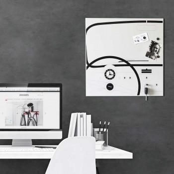 """Design Object Orologio da parete di design in metallo serigrafato con portachiavi """"CINQUINO""""      IT609W"""