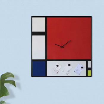 """Design Object Orologio da parete in metallo in stile contemporaneo """"MONDRIAN""""      IT900"""