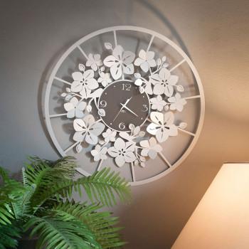 Arti e Mestieri Orologio da parete in metallo di grandi dimensioni stile floreale Fior Di Loto