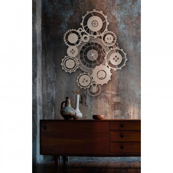 Arti e Mestieri Orologio da parete contemporaneo con ingranaggi e con citazione Tempus