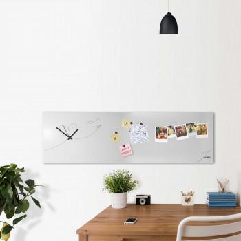 """Design Object Orologio da parete orizzontale con lavagna magnetica e accessori """"PAPER PLANE""""      IT6633"""