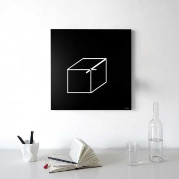 """Design Object Orologio da parete in metallo in stile moderno e minimale """"CUBE""""  Nero    IT604"""