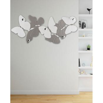 Pintdecor Appendiabiti da parete in legno con farfalle Volteggio Leggero 156x62  Avorio/Tortora